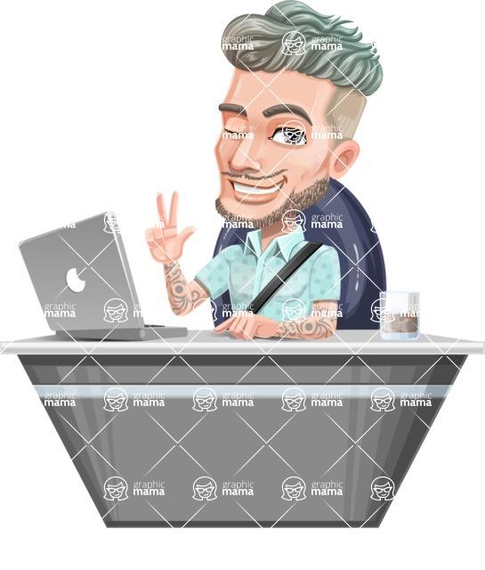 Attractive Man with Tattoos Cartoon Vector Character AKA Kane - Desk