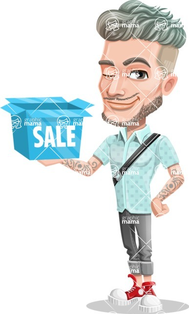 Attractive Man with Tattoos Cartoon Vector Character AKA Kane - Sale 2
