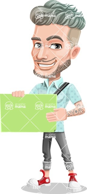 Attractive Man with Tattoos Cartoon Vector Character AKA Kane - Sign 3