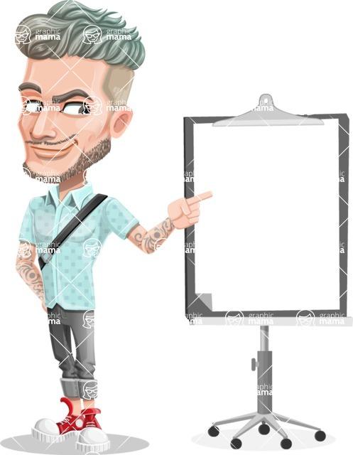 Attractive Man with Tattoos Cartoon Vector Character AKA Kane - Presentation 2