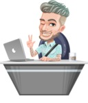Attractive Man with Tattoos Cartoon Vector Character AKA Kane - Desk