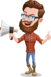 Cartoon Man dressed as Lumberjack Vector Character Illustrations - Loudspeaker