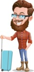 Cartoon Man dressed as Lumberjack Vector Character Illustrations - Suitcase