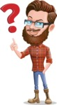 Cartoon Man dressed as Lumberjack Vector Character Illustrations - Question