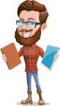 Cartoon Man dressed as Lumberjack Vector Character Illustrations - Book or Tablet