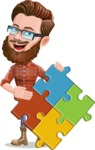 Cartoon Man dressed as Lumberjack Vector Character Illustrations - Puzzle