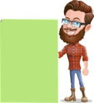 Cartoon Man dressed as Lumberjack Vector Character Illustrations - Sign 8