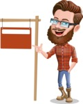 Cartoon Man dressed as Lumberjack Vector Character Illustrations - Street Sign
