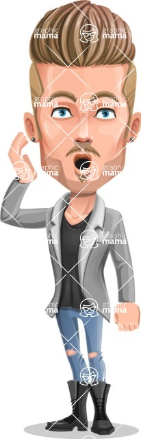 Fashion Man Cartoon Vector Character AKA Jett Dapper - Stunned