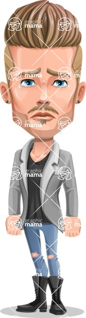 Fashion Man Cartoon Vector Character AKA Jett Dapper - Sad