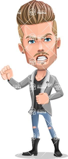 Fashion Man Cartoon Vector Character AKA Jett Dapper - Angry