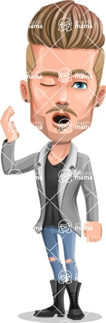Fashion Man Cartoon Vector Character AKA Jett Dapper - Bored 2