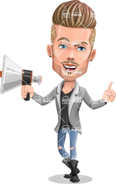 Fashion Man Cartoon Vector Character AKA Jett Dapper - Loudspeaker