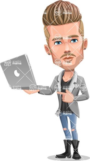 Fashion Man Cartoon Vector Character AKA Jett Dapper - Laptop 1