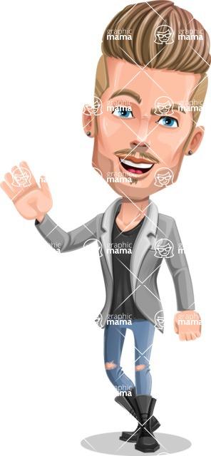 Fashion Man Cartoon Vector Character AKA Jett Dapper - Wave