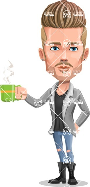 Fashion Man Cartoon Vector Character AKA Jett Dapper - Coffee