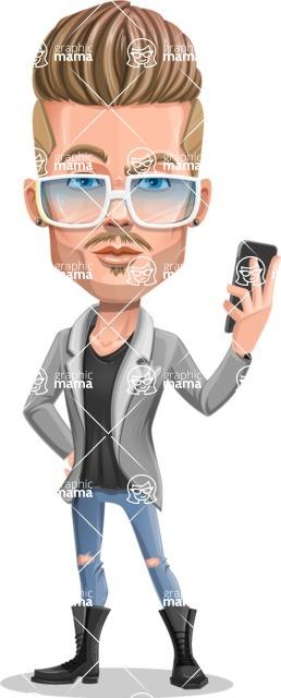 Fashion Man Cartoon Vector Character AKA Jett Dapper - Glasses and phone