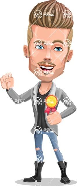 Fashion Man Cartoon Vector Character AKA Jett Dapper - Ribbon