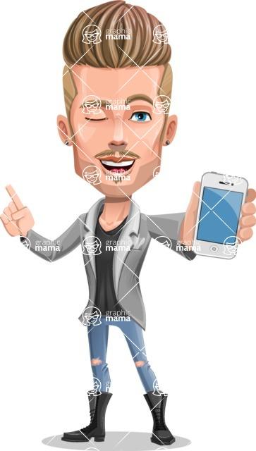 Fashion Man Cartoon Vector Character AKA Jett Dapper - IPhone