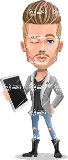 Fashion Man Cartoon Vector Character AKA Jett Dapper - Tablet 3