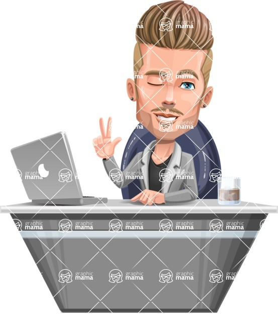 Fashion Man Cartoon Vector Character AKA Jett Dapper - Desk