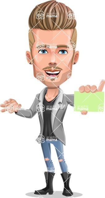 Fashion Man Cartoon Vector Character AKA Jett Dapper - Sign 1