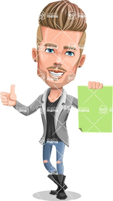 Fashion Man Cartoon Vector Character AKA Jett Dapper - Sign 2
