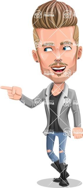 Fashion Man Cartoon Vector Character AKA Jett Dapper - Point 1