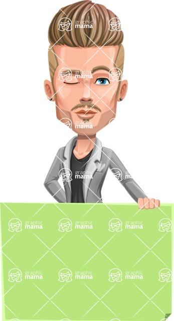 Fashion Man Cartoon Vector Character AKA Jett Dapper - Sign 5