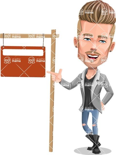 Fashion Man Cartoon Vector Character AKA Jett Dapper - Street Sign