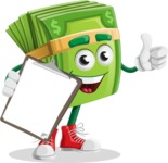 Dollar Bill Cartoon Money Vector Character - Being Happy and Showing a Notepad