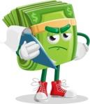 Dollar Bill Cartoon Money Vector Character - Being Sad Holding a Notepad