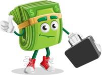 Dollar Bill Cartoon Money Vector Character - Briefcase 1