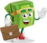 Dollar Bill Cartoon Money Vector Character - Briefcase 2