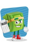 Dollar Bill Cartoon Money Vector Character - Calculating with Background Illustration