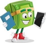 Dollar Bill Cartoon Money Vector Character - Choosing between Book and Tablet