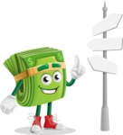 Dollar Bill Cartoon Money Vector Character - Choosing Way with Street Sign pointing in all directions
