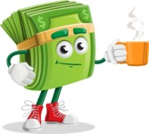 Dollar Bill Cartoon Money Vector Character - Drinking Cup of Coffee