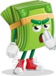 Dollar Bill Cartoon Money Vector Character - Feeling Bored and Yawning
