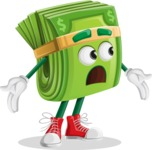 Dollar Bill Cartoon Money Vector Character - Feeling Lost with Sad Face