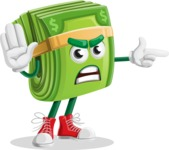 Dollar Bill Cartoon Money Vector Character - Finger pointing with angry face