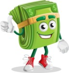 Dollar Bill Cartoon Money Vector Character - Giving Thumbs Up