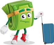 Dollar Bill Cartoon Money Vector Character - Going to vacation with a Suitcase