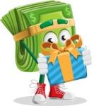 Dollar Bill Cartoon Money Vector Character - Holding a Gift