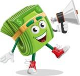 Dollar Bill Cartoon Money Vector Character - Holding a Loudspeaker