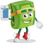 Dollar Bill Cartoon Money Vector Character - Holding a Mobile Phone