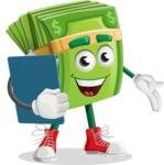 Dollar Bill Cartoon Money Vector Character - Holding a Notepad