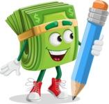 Dollar Bill Cartoon Money Vector Character - Holding a Pencil