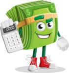 Dollar Bill Cartoon Money Vector Character - Holding Calculator