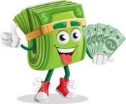 Dollar Bill Cartoon Money Vector Character - Holding Cash Money Banknotes